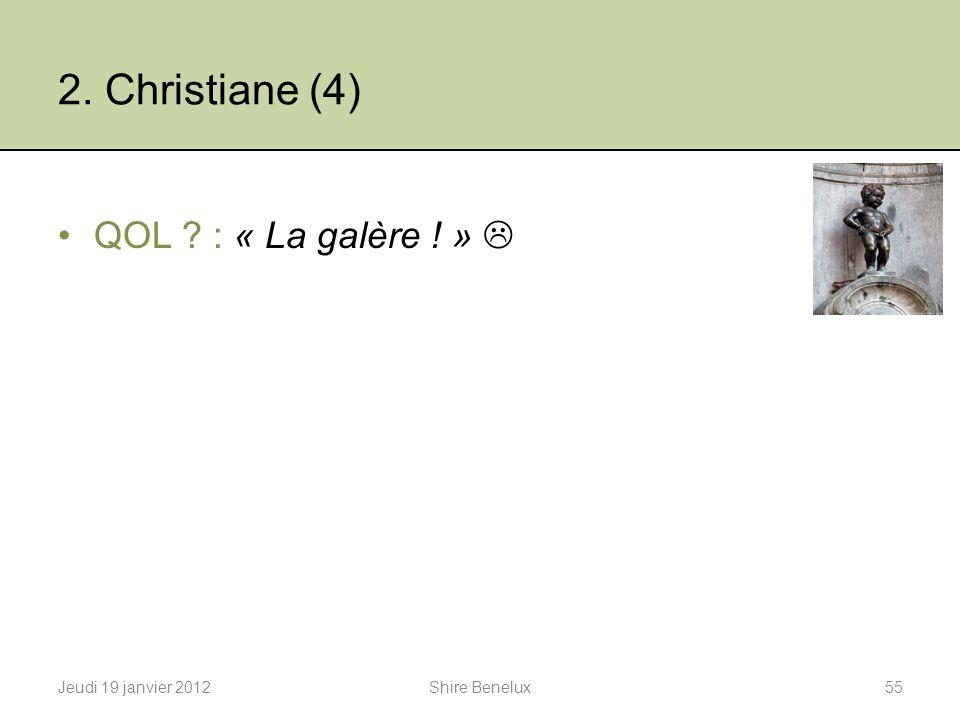 2. Christiane (4) QOL : « La galère ! » 