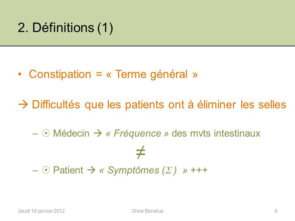 2. Définitions (1) Constipation = « Terme général »