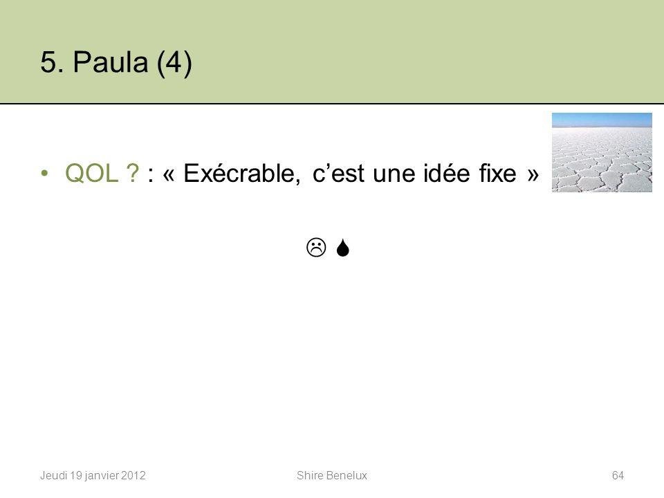 5. Paula (4) QOL : « Exécrable, c'est une idée fixe »  