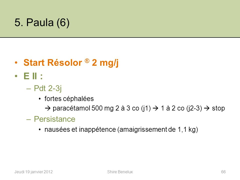 5. Paula (6) Start Résolor ® 2 mg/j E II : Pdt 2-3j Persistance