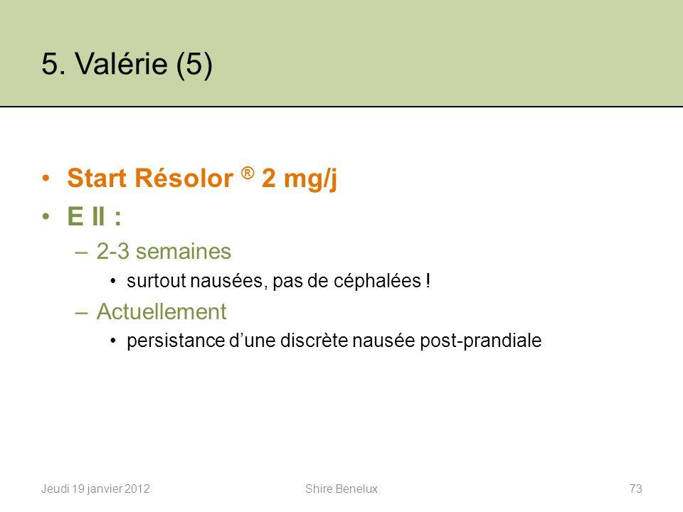5. Valérie (5) Start Résolor ® 2 mg/j E II : 2-3 semaines Actuellement