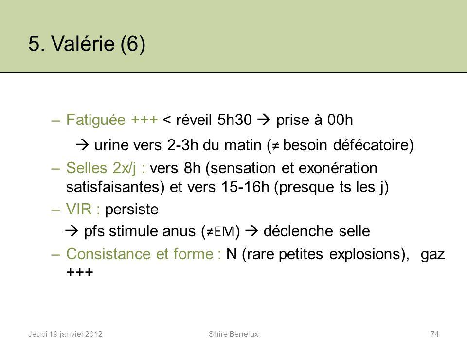 5. Valérie (6)  urine vers 2-3h du matin (≠ besoin défécatoire)
