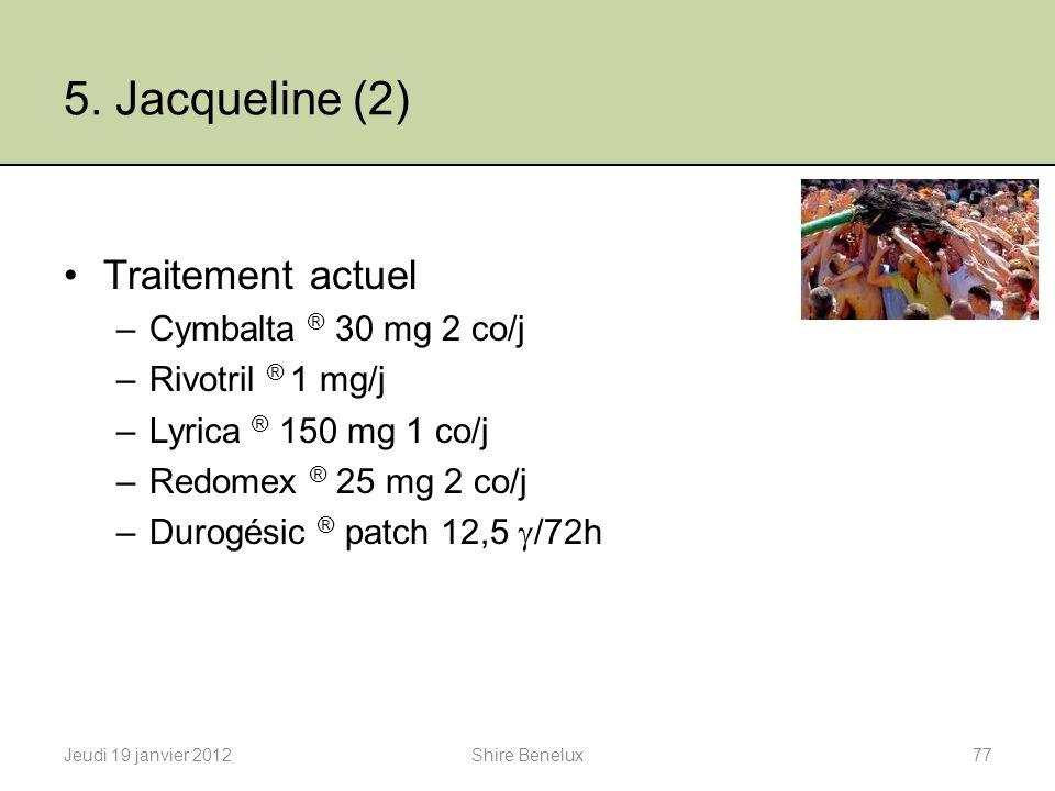 5. Jacqueline (2) Traitement actuel Cymbalta ® 30 mg 2 co/j