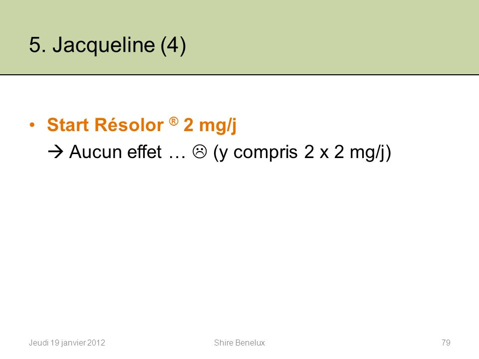 5. Jacqueline (4) Start Résolor ® 2 mg/j