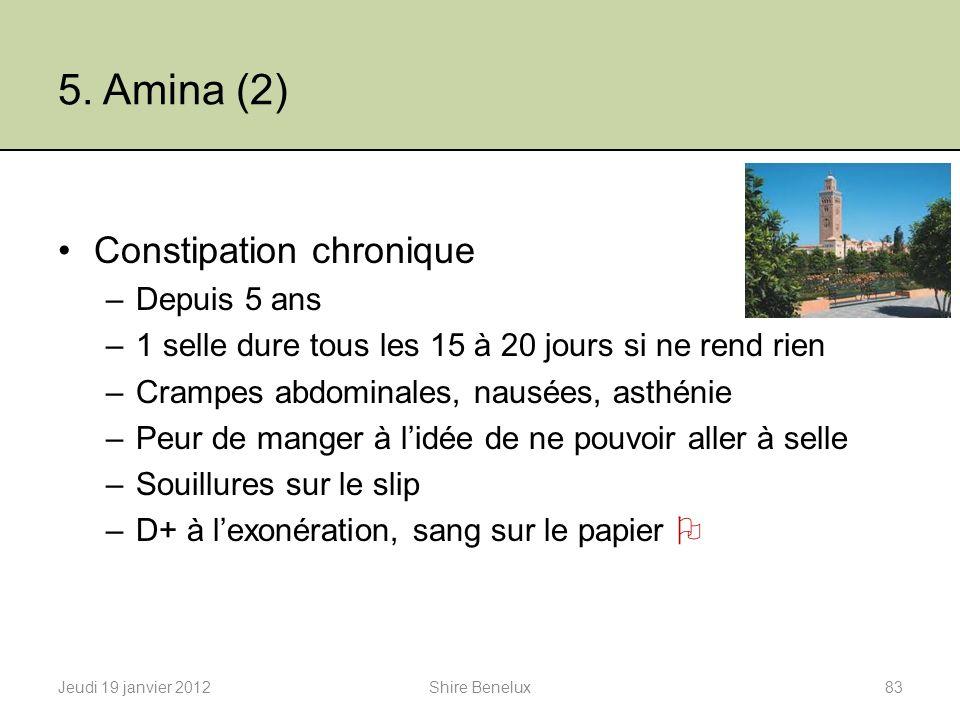 5. Amina (2) Constipation chronique Depuis 5 ans
