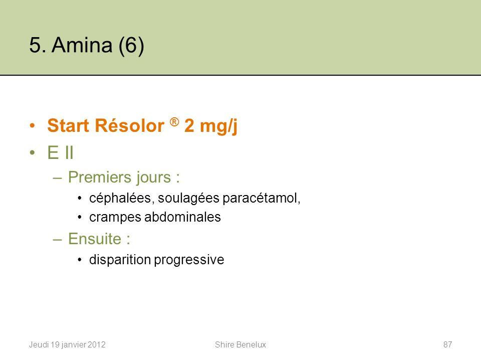 5. Amina (6) Start Résolor ® 2 mg/j E II Premiers jours : Ensuite :