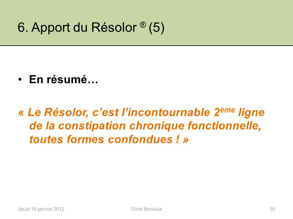 6. Apport du Résolor ® (5) En résumé…