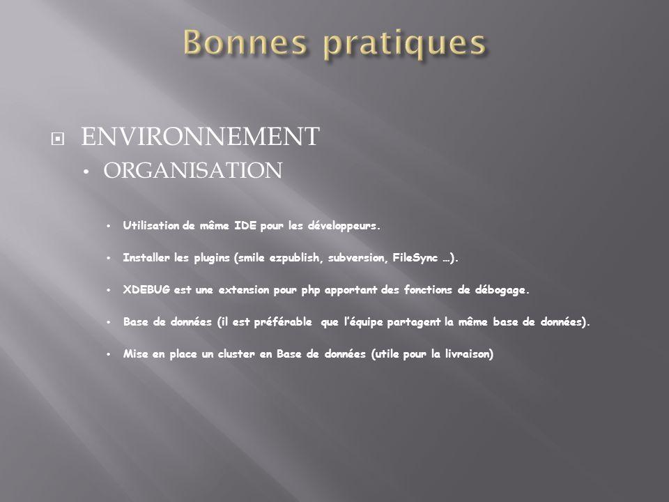 Bonnes pratiques ENVIRONNEMENT ORGANISATION