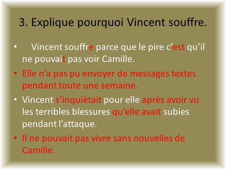 3. Explique pourquoi Vincent souffre.