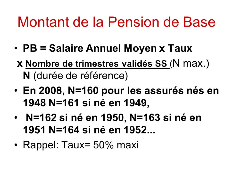 Montant de la Pension de Base