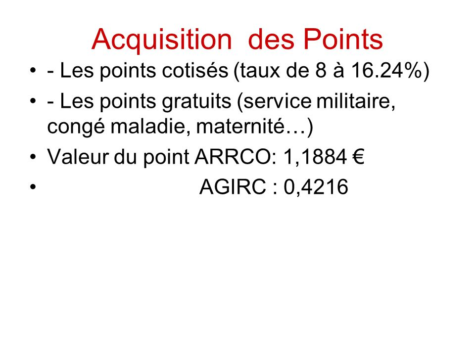 Acquisition des Points