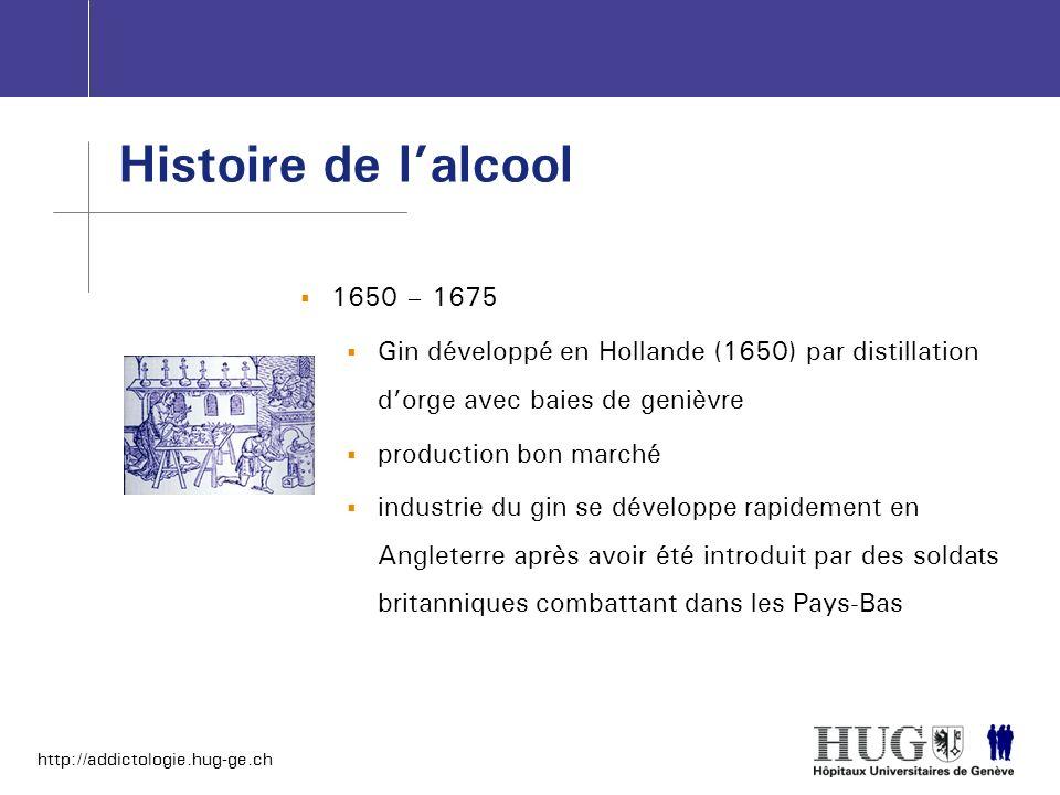 Histoire de l'alcool1650 – 1675. Gin développé en Hollande (1650) par distillation d'orge avec baies de genièvre.
