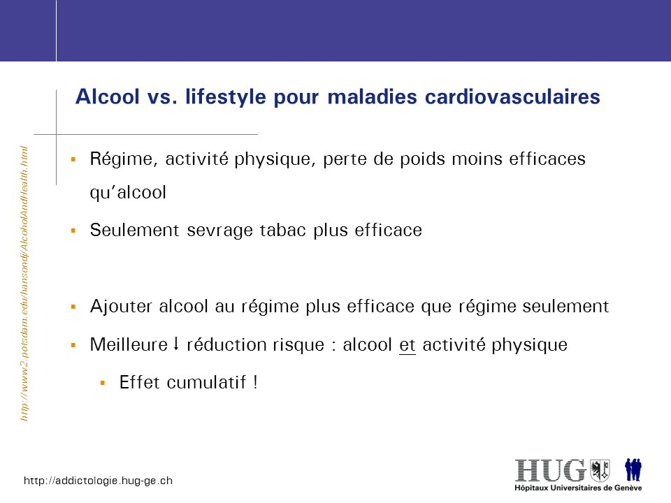 Alcool vs. lifestyle pour maladies cardiovasculaires