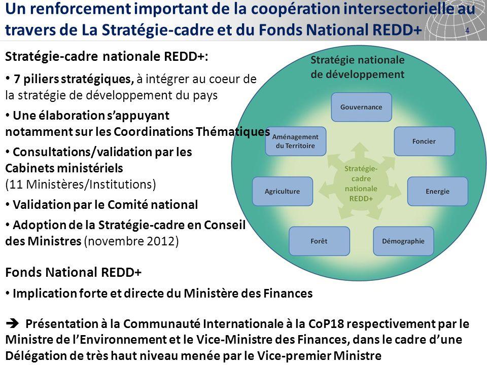 Un renforcement important de la coopération intersectorielle au travers de La Stratégie-cadre et du Fonds National REDD+