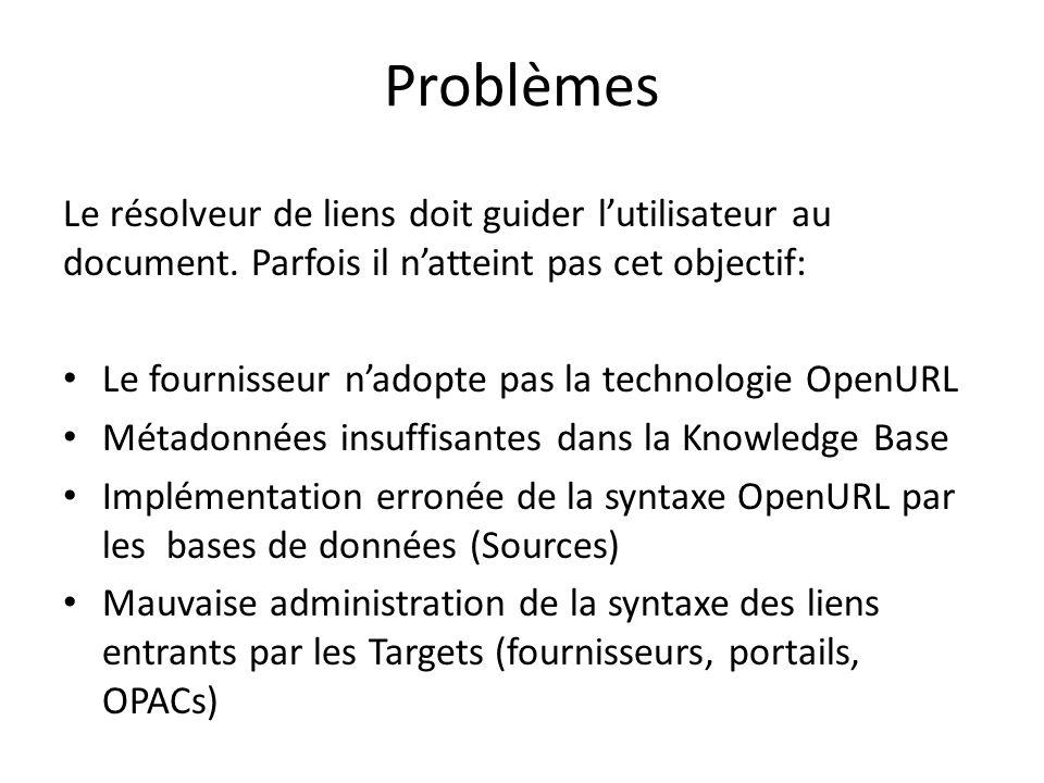 Problèmes Le résolveur de liens doit guider l'utilisateur au document. Parfois il n'atteint pas cet objectif: