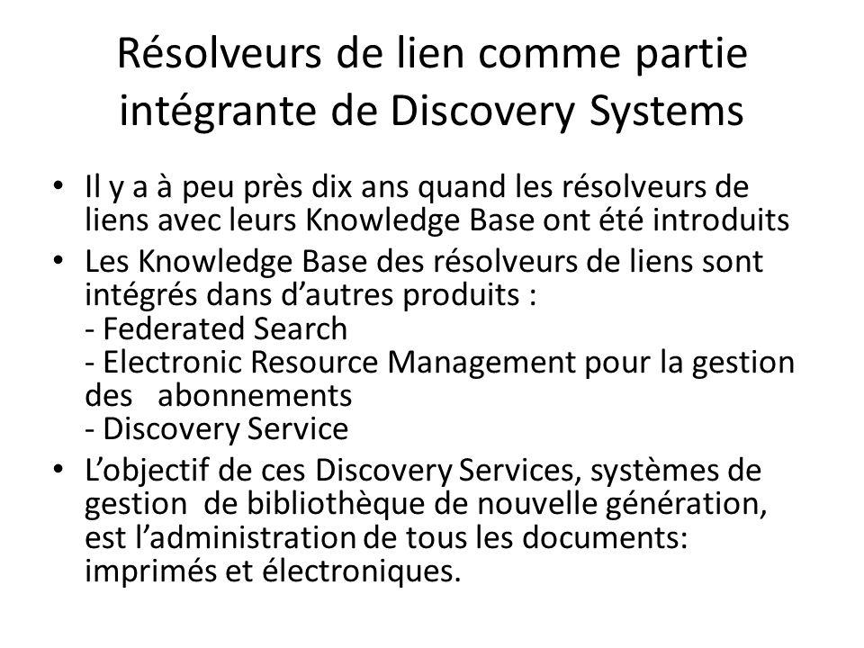 Résolveurs de lien comme partie intégrante de Discovery Systems