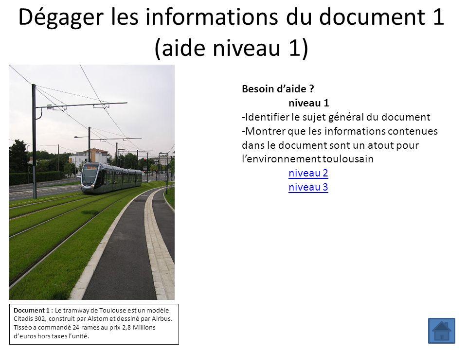 Dégager les informations du document 1 (aide niveau 1)