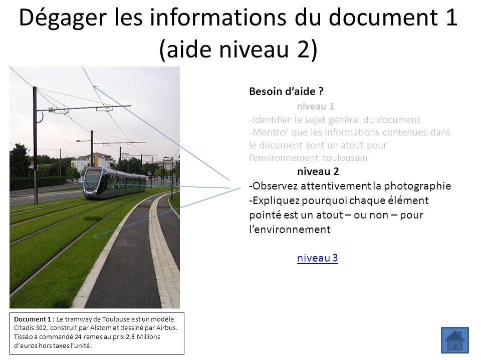 Dégager les informations du document 1 (aide niveau 2)