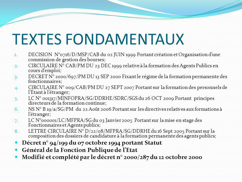 TEXTES FONDAMENTAUX Décret n° 94/199 du 07 octobre 1994 portant Statut