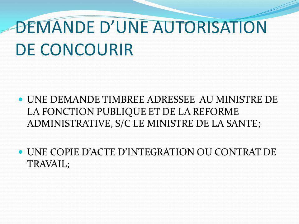 DEMANDE D'UNE AUTORISATION DE CONCOURIR