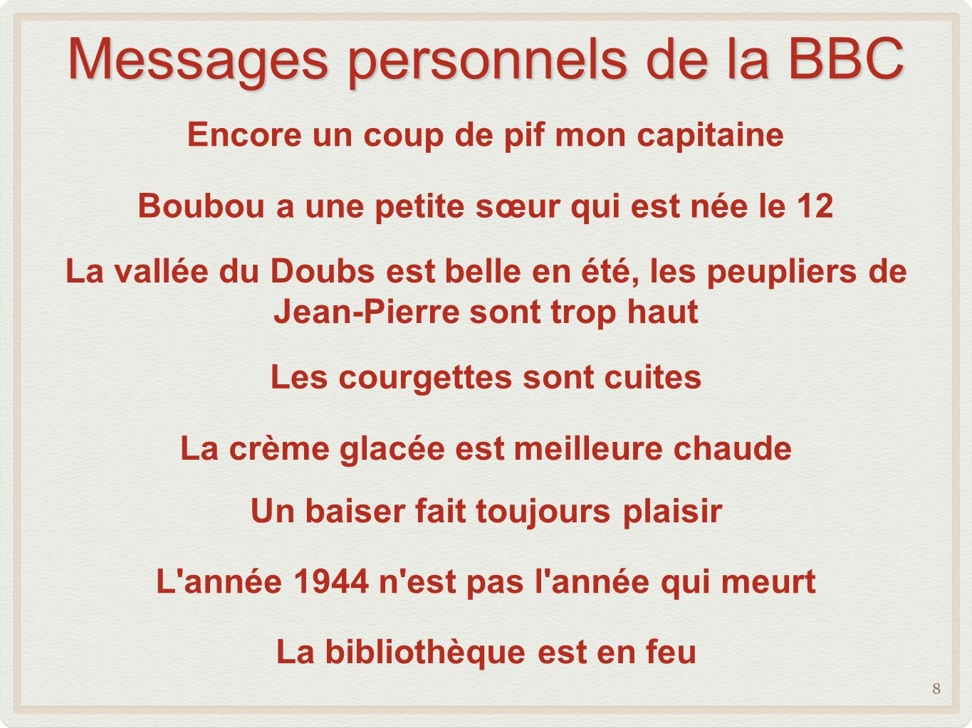 Messages personnels de la BBC