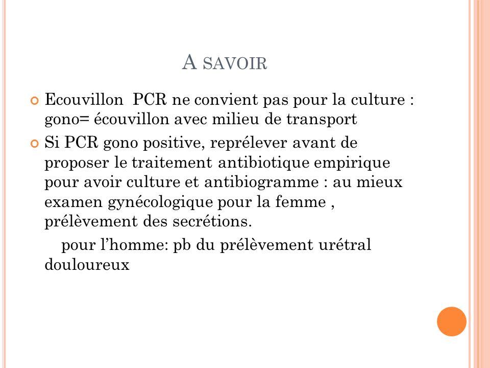 A savoir Ecouvillon PCR ne convient pas pour la culture : gono= écouvillon avec milieu de transport.