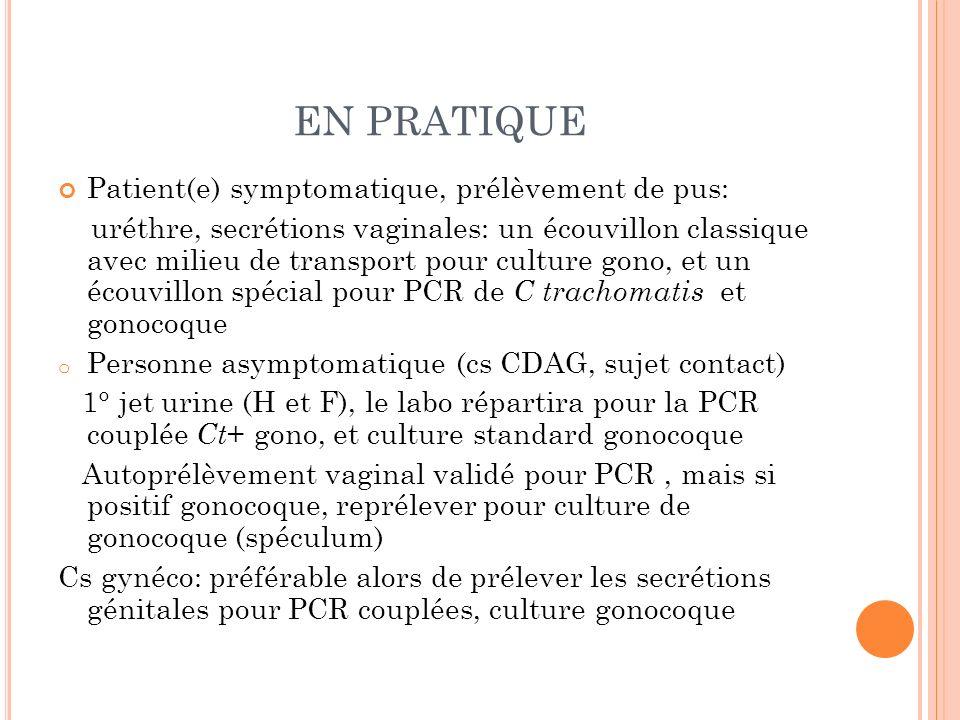 EN PRATIQUE Patient(e) symptomatique, prélèvement de pus: