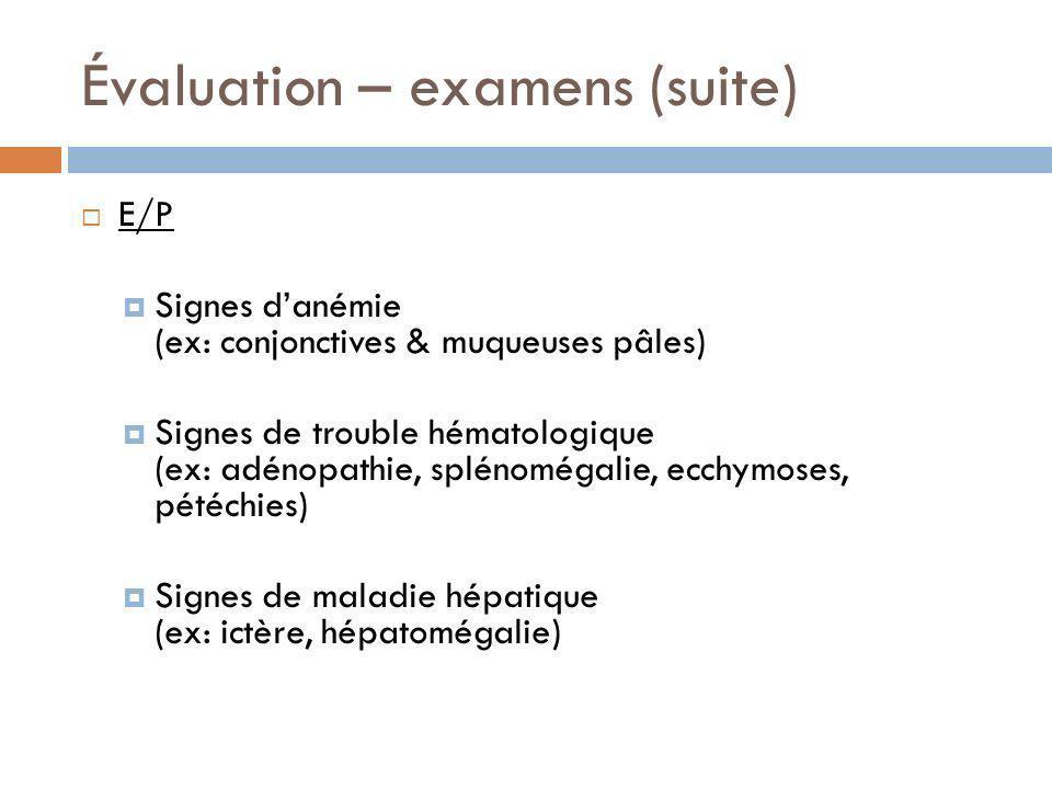Évaluation – examens (suite)