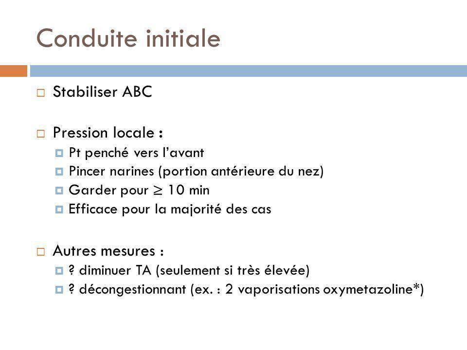 Conduite initiale Stabiliser ABC Pression locale : Autres mesures :