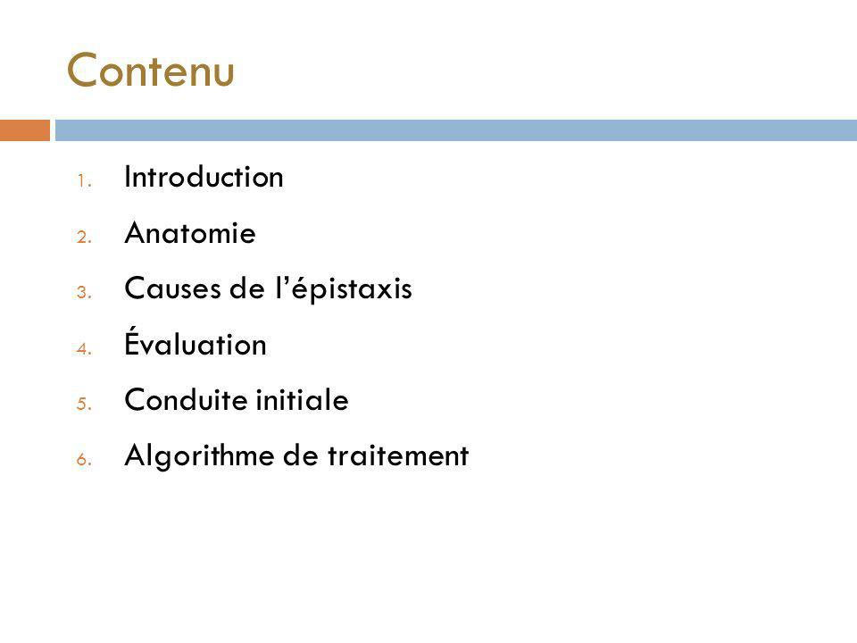 Contenu Introduction Anatomie Causes de l'épistaxis Évaluation