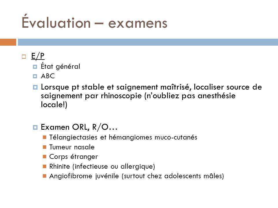 Évaluation – examens E/P