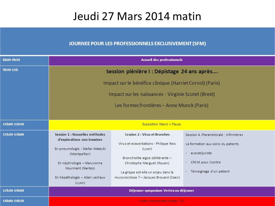 Jeudi 27 Mars 2014 matin JOURNEE POUR LES PROFESSIONNELS EXCLUSIVEMENT (SFM) 8h00-9h30. Accueil des professionnels.