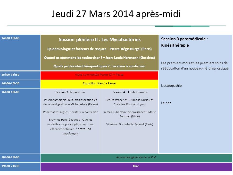 Jeudi 27 Mars 2014 après-midi Session B paramédicale : Kinésithérapie