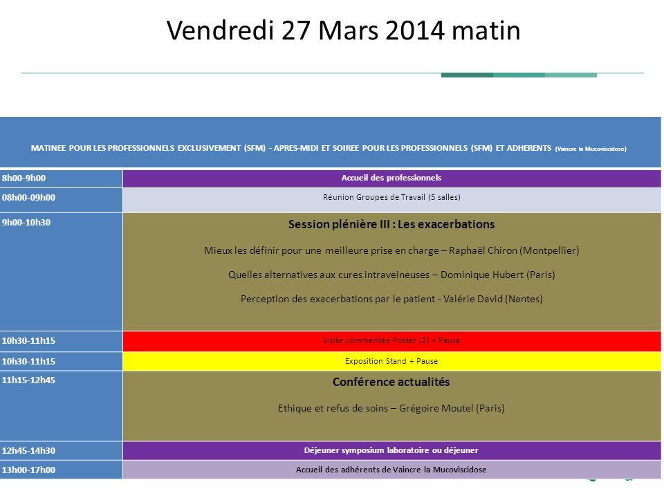 Vendredi 27 Mars 2014 matin Session plénière III : Les exacerbations