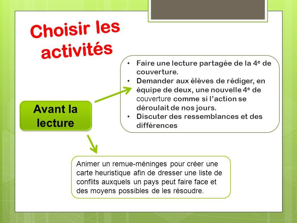 Choisir les activités Avant la lecture
