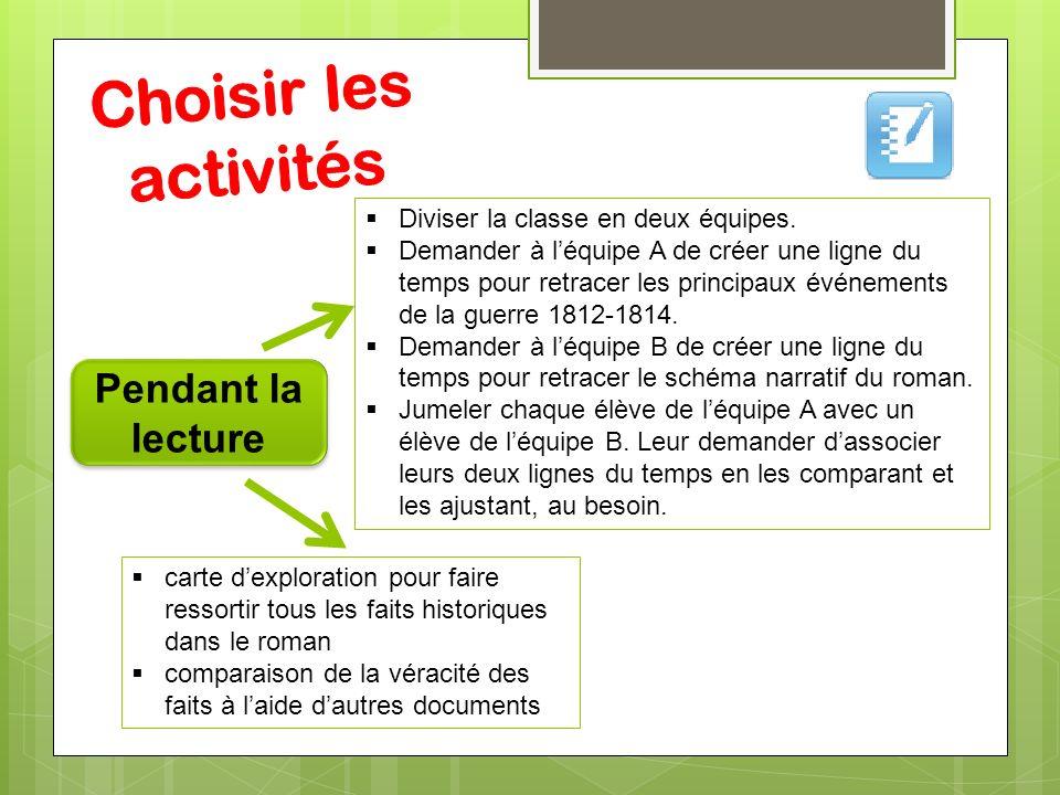 Choisir les activités Pendant la lecture