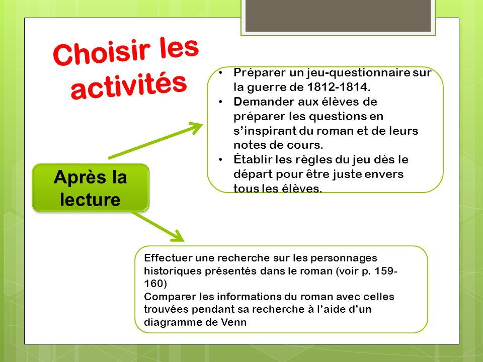 Choisir les activités Après la lecture