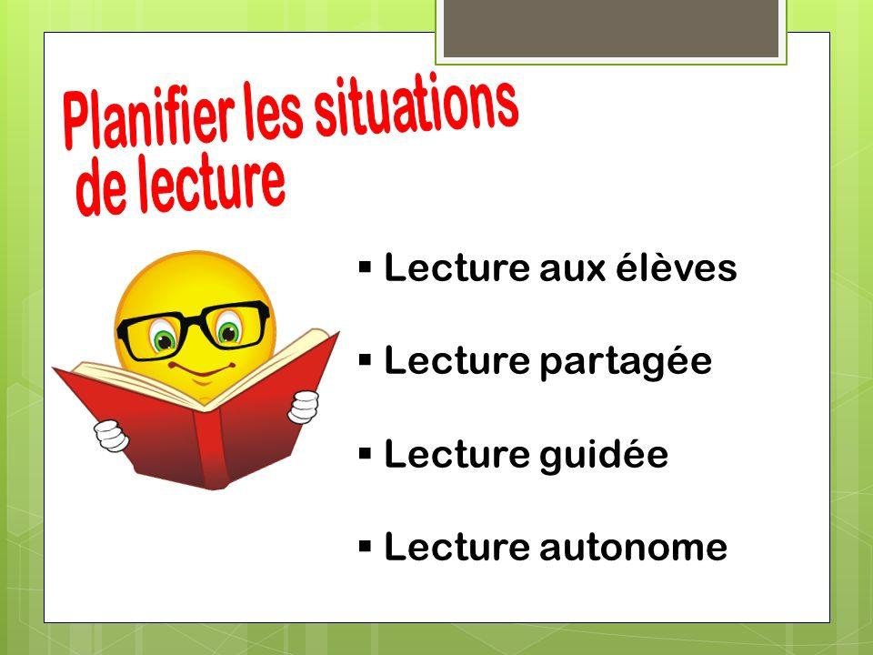 Planifier les situations de lecture