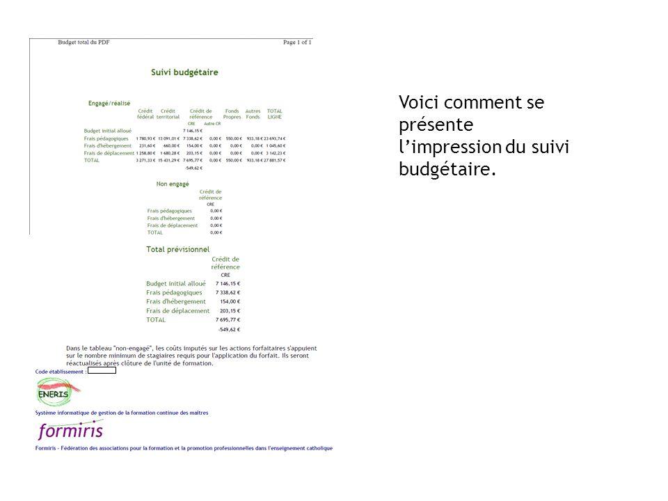 Voici comment se présente l'impression du suivi budgétaire.