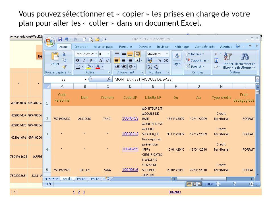 Vous pouvez sélectionner et « copier » les prises en charge de votre plan pour aller les « coller » dans un document Excel.