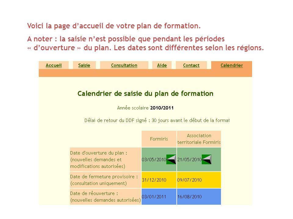 Voici la page d'accueil de votre plan de formation.