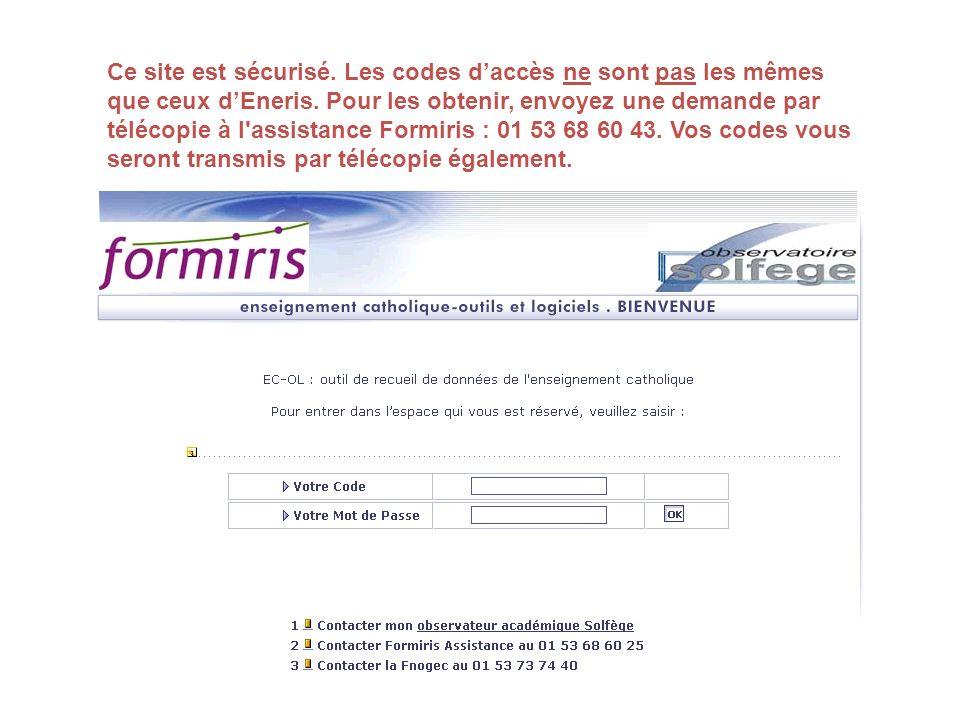 Ce site est sécurisé. Les codes d'accès ne sont pas les mêmes que ceux d'Eneris.