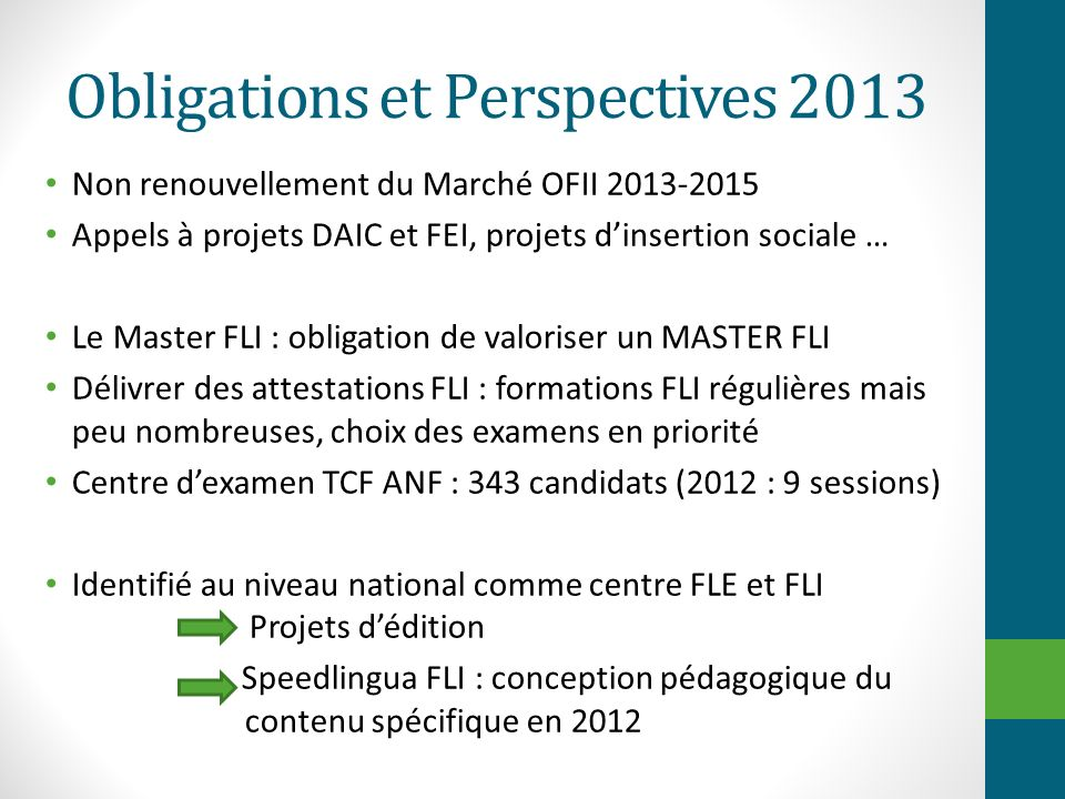 Obligations et Perspectives 2013