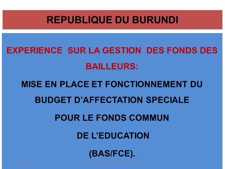 REPUBLIQUE DU BURUNDI EXPERIENCE SUR LA GESTION DES FONDS DES BAILLEURS: MISE EN PLACE ET FONCTIONNEMENT DU BUDGET D'AFFECTATION SPECIALE.