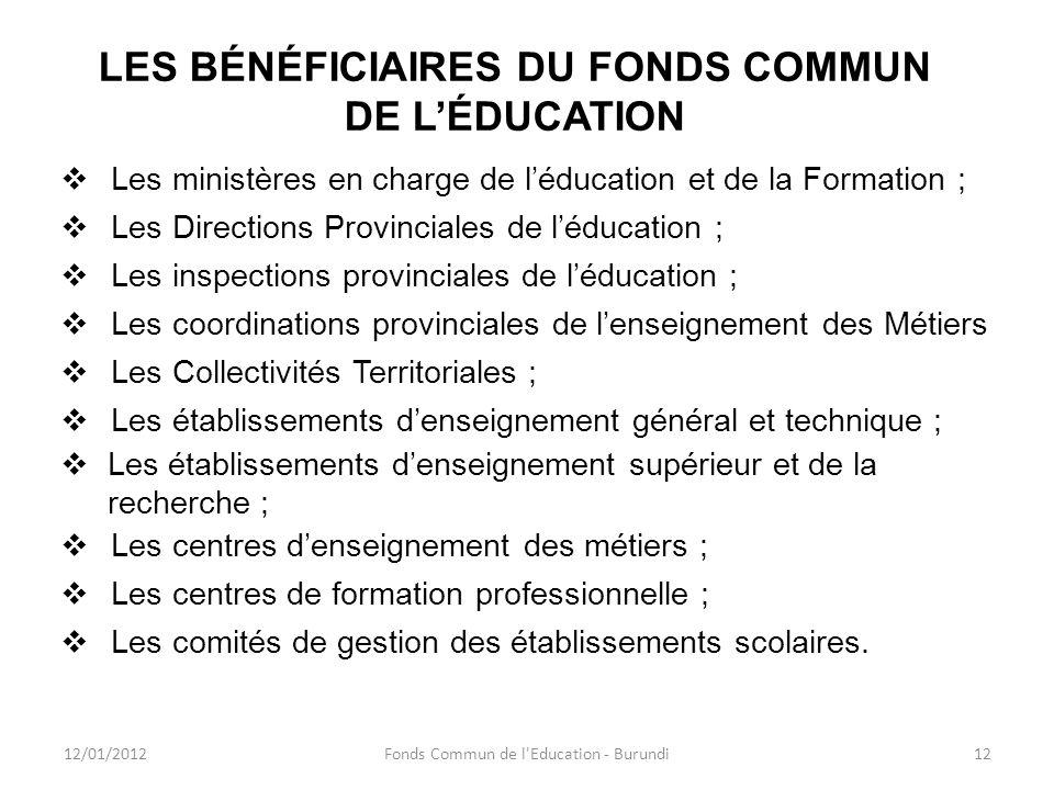 LES BÉNÉFICIAIRES DU FONDS COMMUN DE L'ÉDUCATION