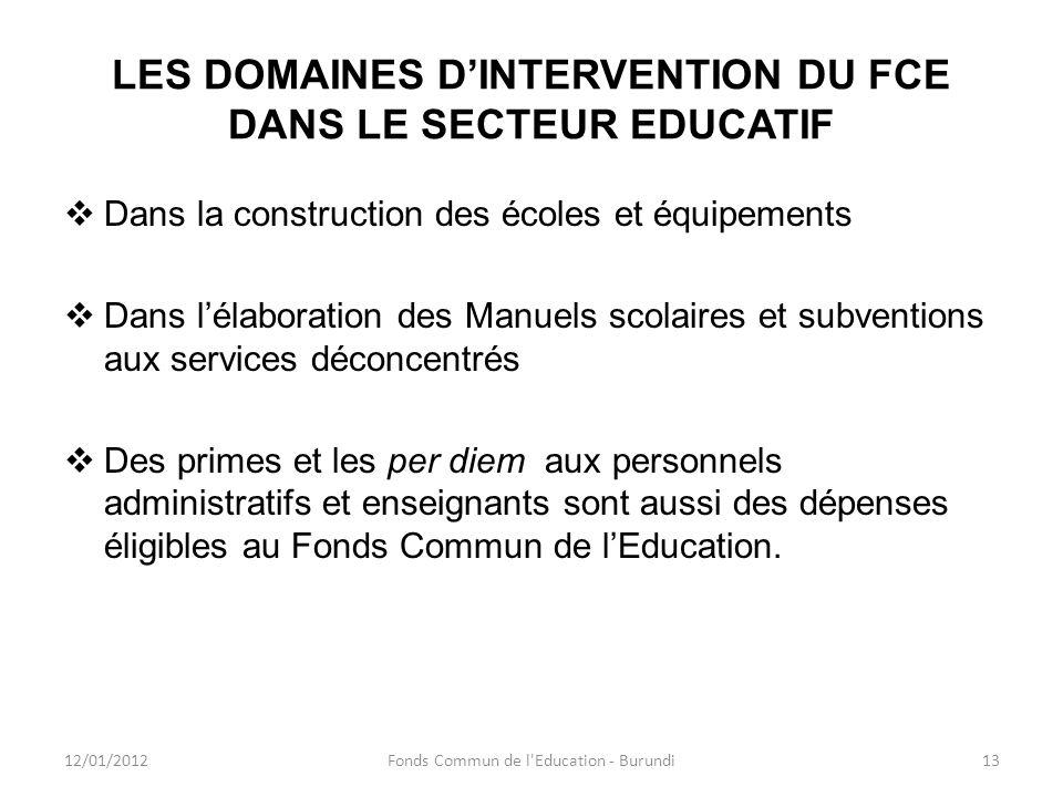 LES DOMAINES D'INTERVENTION DU FCE DANS LE SECTEUR EDUCATIF