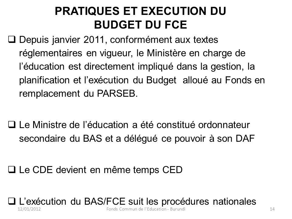 PRATIQUES ET EXECUTION DU BUDGET DU FCE