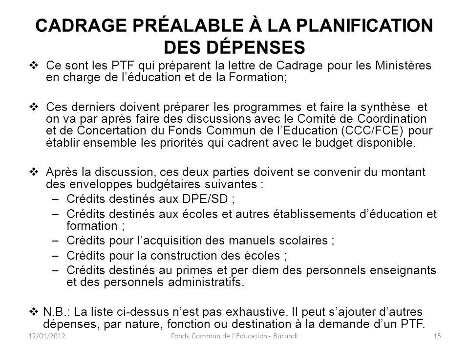 CADRAGE PRÉALABLE À LA PLANIFICATION DES DÉPENSES