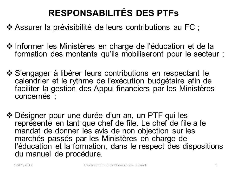 RESPONSABILITÉS DES PTFs