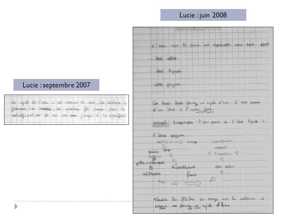 Lucie : juin 2008 Lucie : septembre 2007 constats :